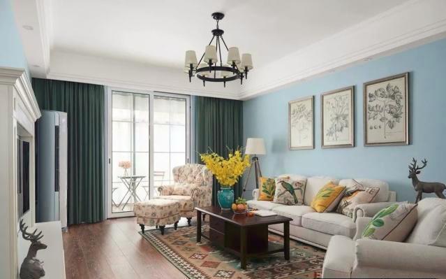 135平現代美式,全屋天藍色清新漂亮,<b>電視</b>墻造型簡單別致!