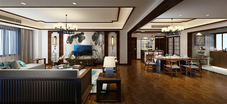 南滨上院150平米新中式风格四室两厅装修效果图(诗情装饰作品)