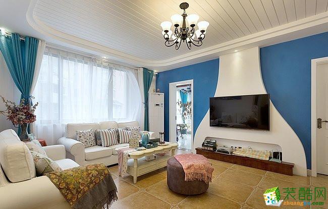 115平米地中海风格三室两厅装修实景案例图--齐家典尚装饰