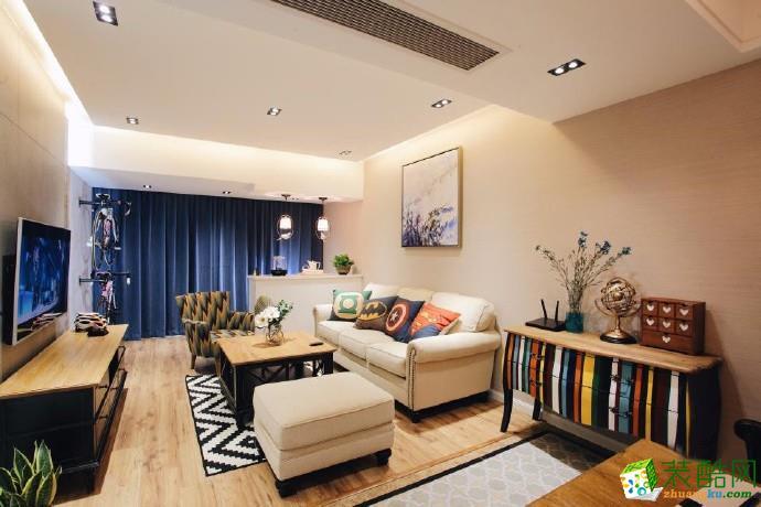 现代简约风格89平米两室两厅 装修实景案例图--宅速美装饰