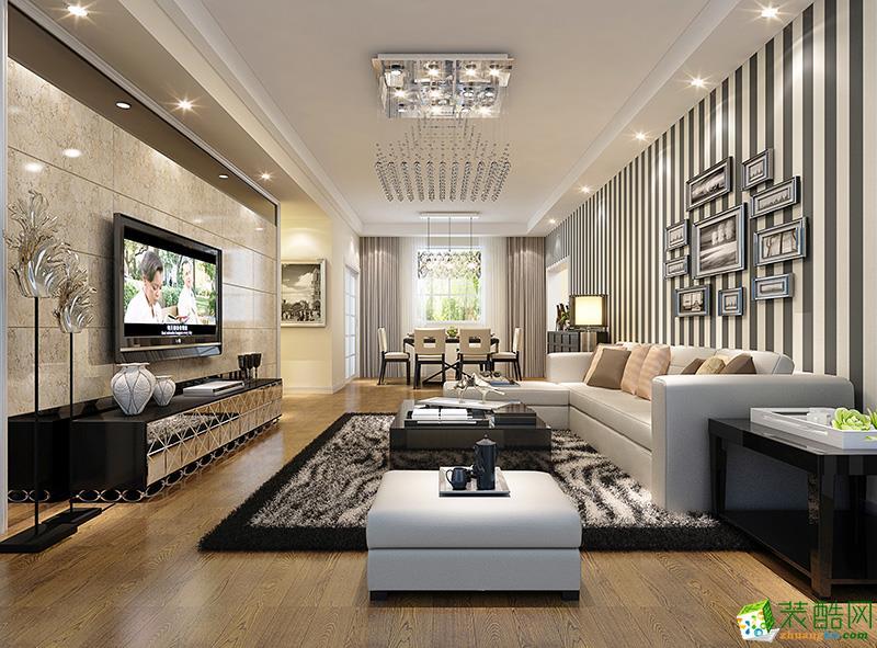 现代简约风格100平米三室两厅装修实景案例--饰家天下装饰