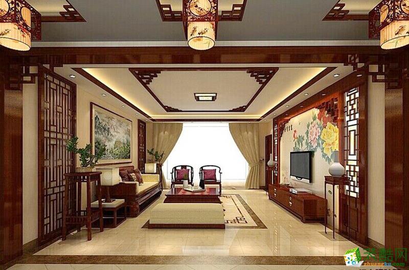 现代中式风格98平米三室两厅装修实景案例--饰家天下装饰