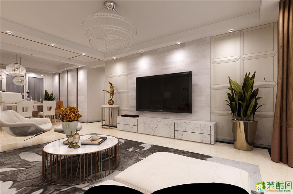现代简约风格106平米三室两厅装修实景案例图--龙发装饰