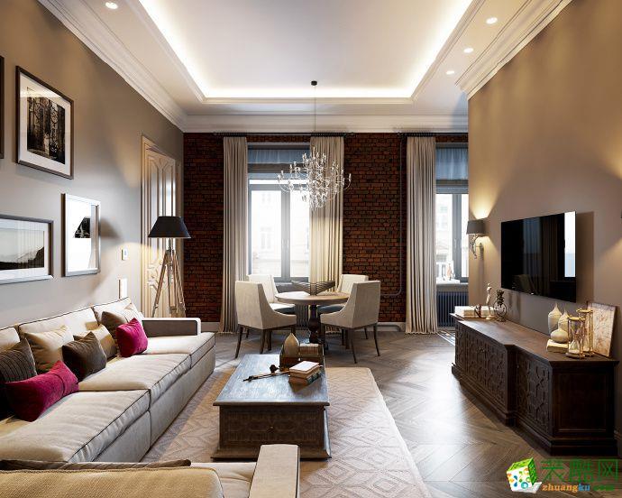 现代简约风格106平米三室两厅装修实景案例图--华浔品味装饰
