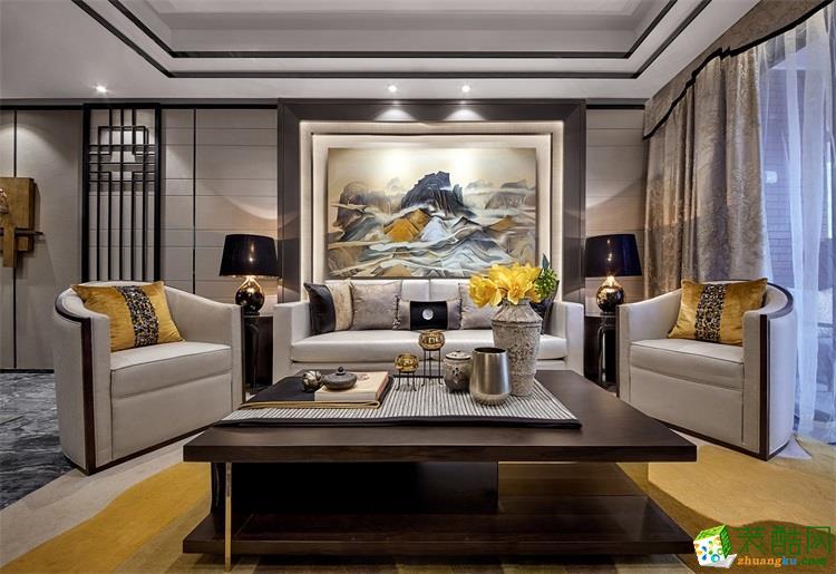 中式风格130平米三室两厅装修效果图--云上装饰