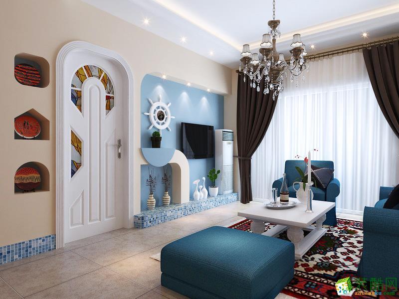 地中海风格101平米三室两厅装修实景案例图--岭寓装饰