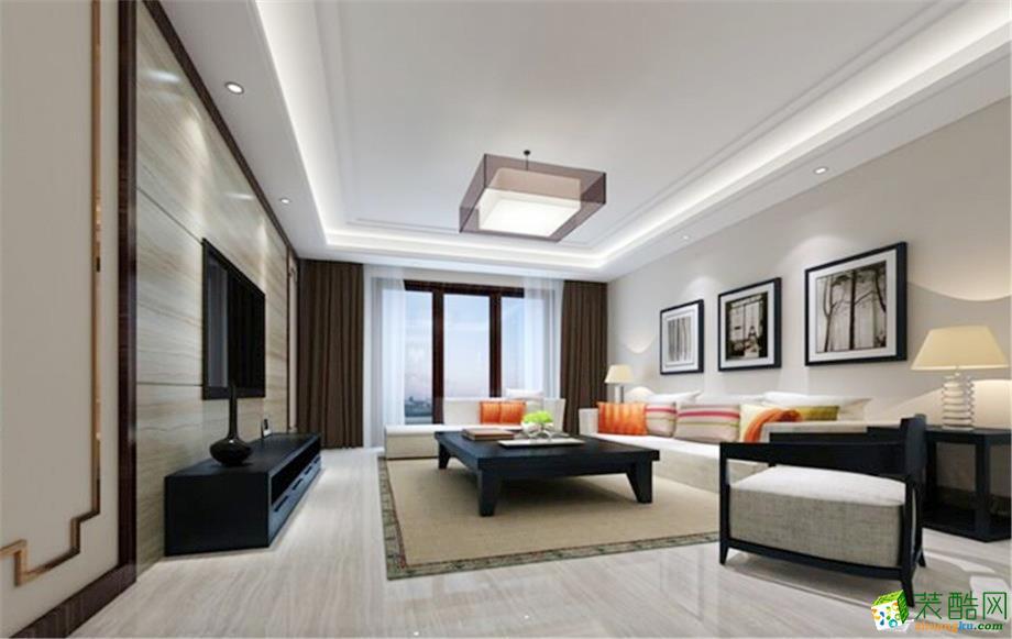 现代简约风格88平米三室两厅装修实景案例图--岭寓装饰