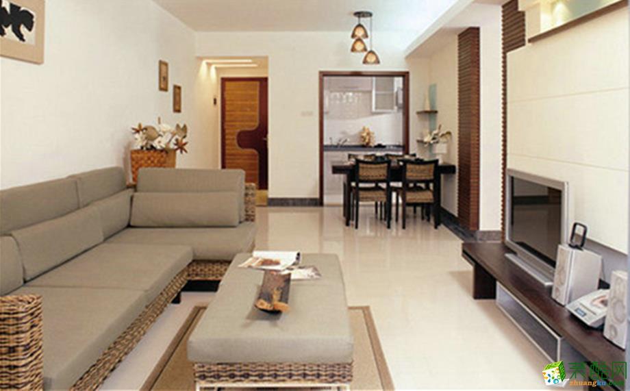 现代简约风格101平米三居室装修效果图--岭寓装饰