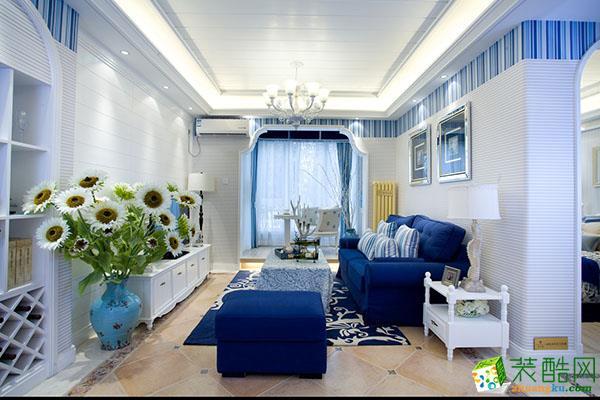 地中海风格110平米三室两厅装修实景案例图--捷诚装饰