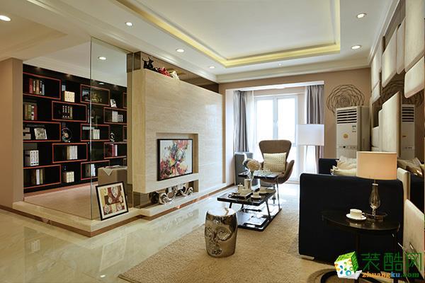 现代简约风格107平米三室两厅装修实景案例图--捷诚装饰