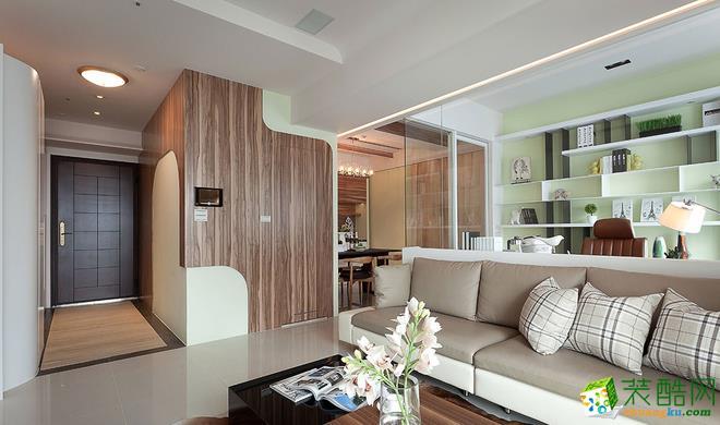 现代简约风格82平米两室两厅装修实景案例图--捷诚装饰