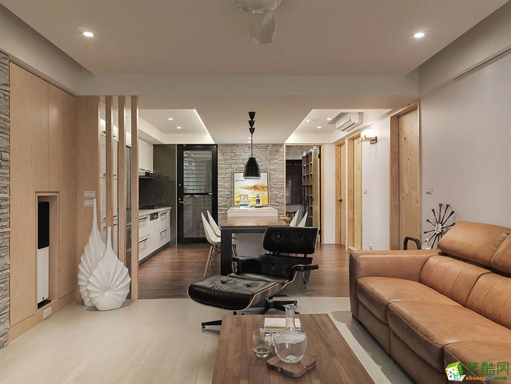 美式风格69平米两室两厅装修实景案例图--品匠装饰