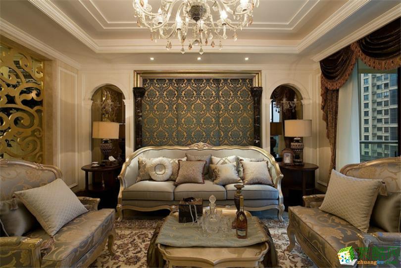 古典欧式风格131平米三室两厅装修实景案例图--业之峰装饰