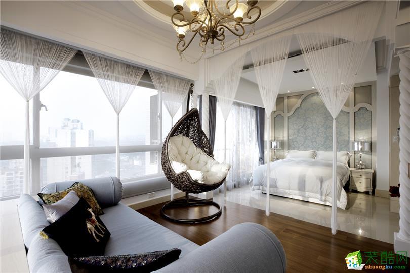 简欧风格112平米三室两厅装修实景案例图--星艺装饰
