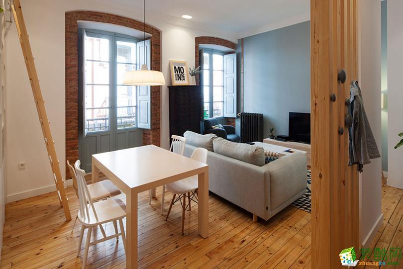 极简北欧风格98平米两居室装修实景案例图--生活家装饰