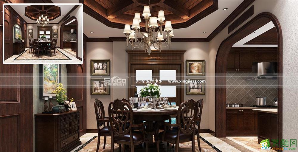 南通别墅装修―天安花园500平美式风格独栋别墅装修设计效果图