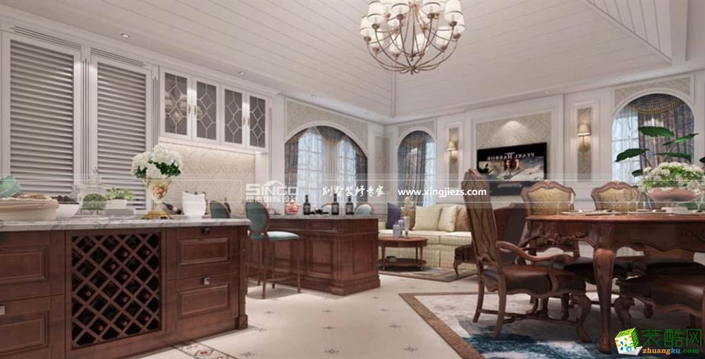 南通别墅装修―东洲半岛500平简约美式风格别墅装修效果图