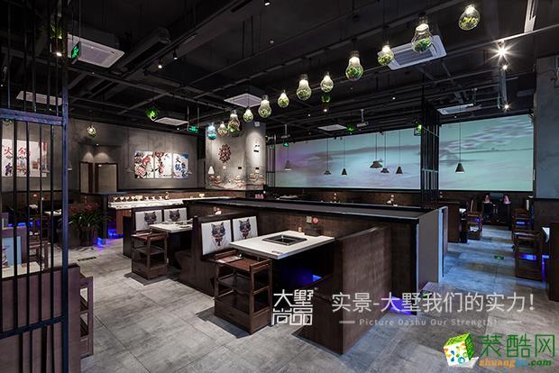 南通大墅装饰―500平米工业风九宫格火锅店装修