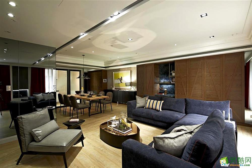 简欧风格92平米三室两厅装修实景案例图--岚庭装饰