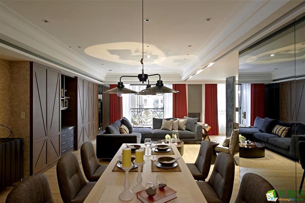 >> 简欧风格92平米三室两厅装修实景案例图--岚庭装饰