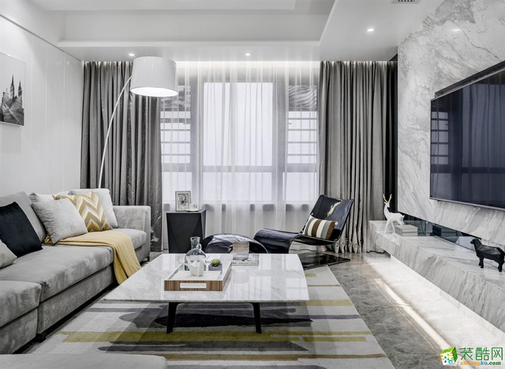 南湖国际社区80平米现代风格三居室装修实景案例图--众意装饰