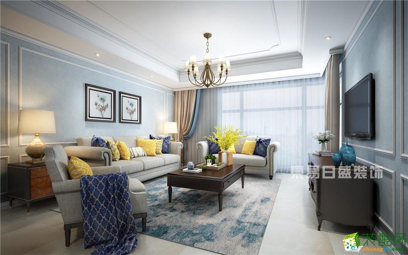 世茂滨江134平米现代美式风格三室两厅装修案例-缪斯装饰