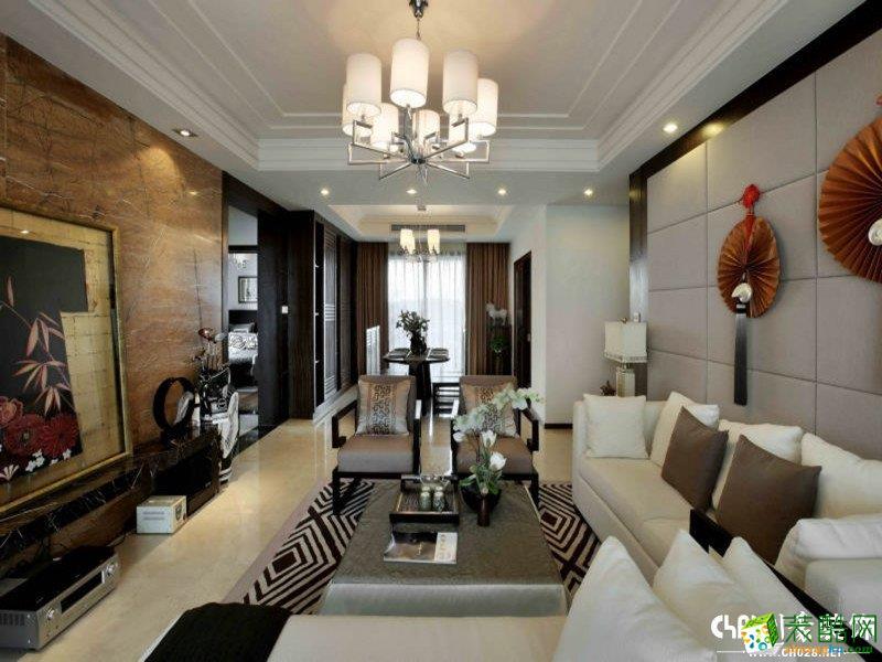 中式风格136平米三室两厅装修效果图--川豪装饰
