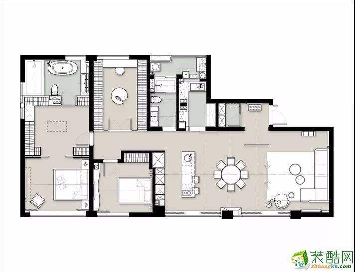 >> 【玉兔装饰】100平米的三室两厅装修效果图图片