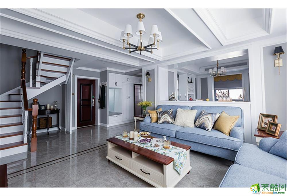 客厅 世邦装饰—东新园190方小美风格跃层装修效果图