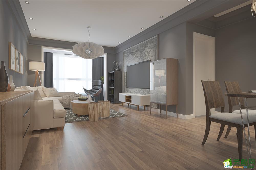现代简约风格125平米三室两厅装修效果图---业之峰装饰