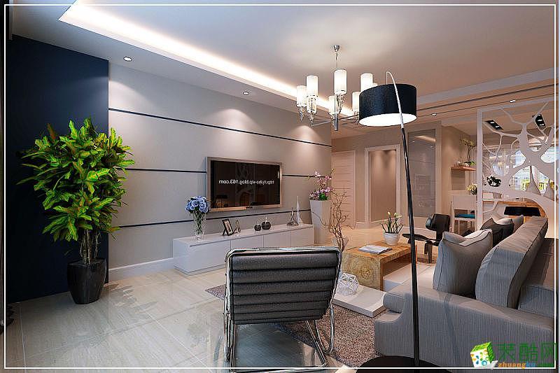 现代简约风格110平米三室两厅装修实景案例图--乐居装饰