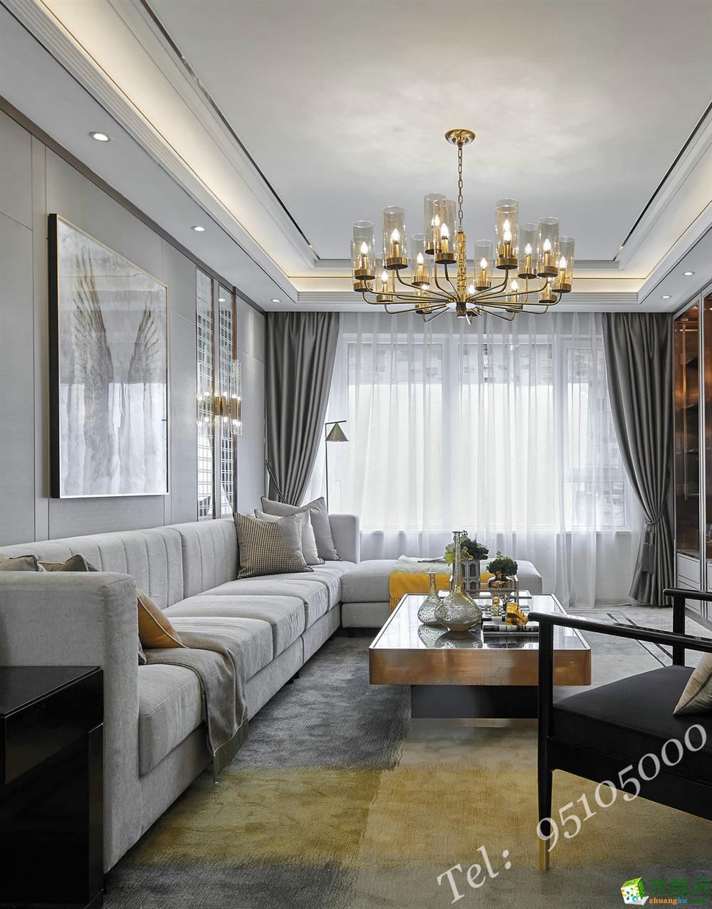 两室两厅效果图_现代轻奢风格220平米四居室装修效果图--艺百年装饰_装酷网装修 ...