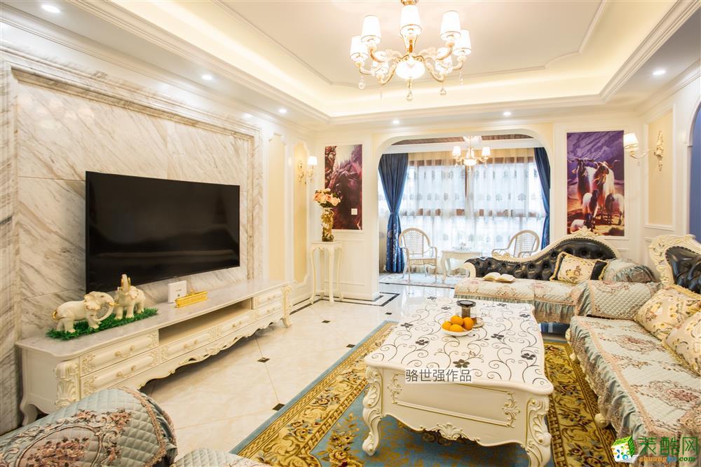 金穗苑简欧风格138平米三室两厅装修效果图---朗润装饰