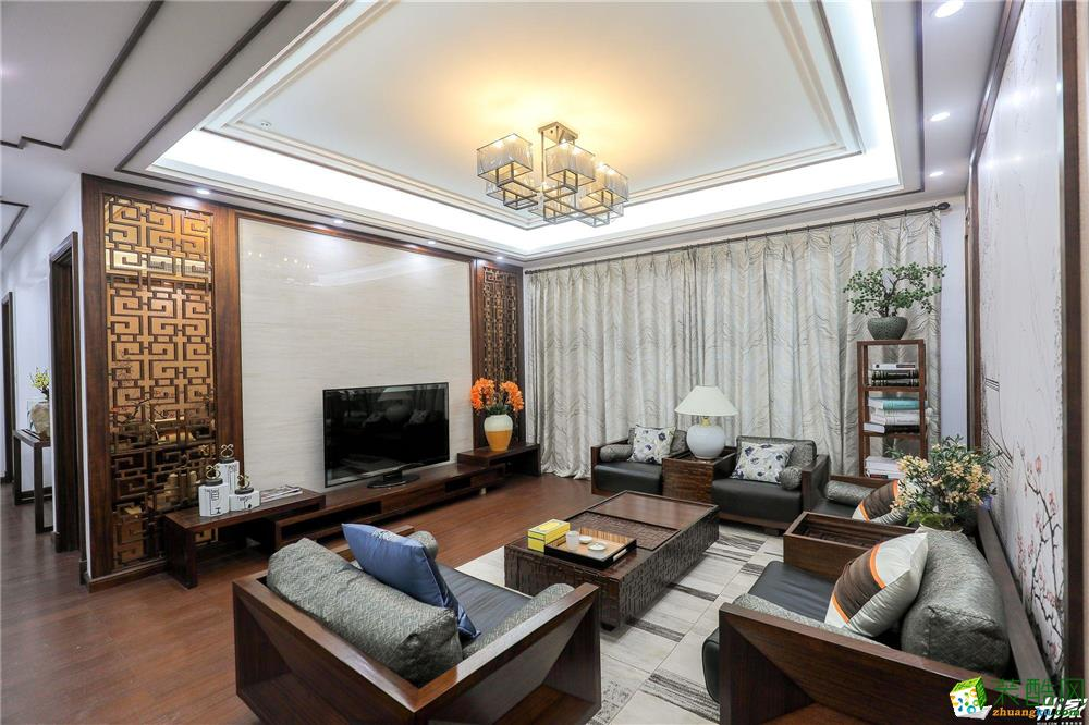 客厅吊顶 嘉禾装饰14.9万打造两室两厅新中式样板房 嘉禾装饰14.