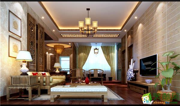 中式风格128平米三室两厅装修效果图--金煌装饰