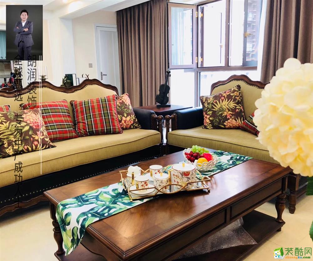 龙湖九里晴川125平米三室两厅美式完工实景照--朗润装饰