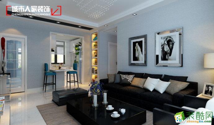 滨州城市人家| 闻鹊佳苑106平现代简约风格装饰装修设计