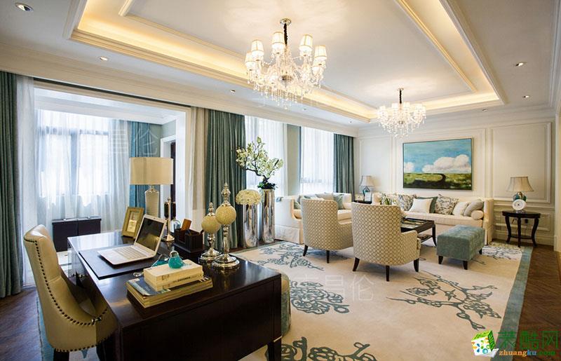 小清新风格118平米三室两厅装修效果图---丹尼斯装饰