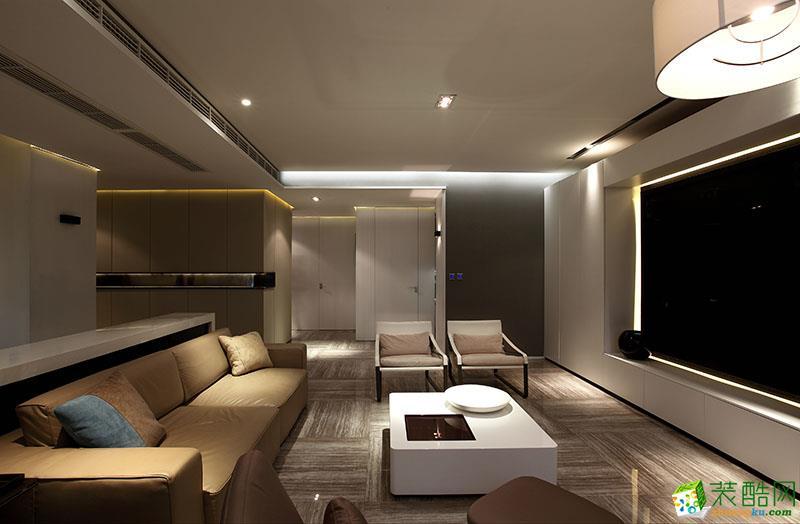现代风格106平米三室两厅装修效果图--丹尼斯装饰