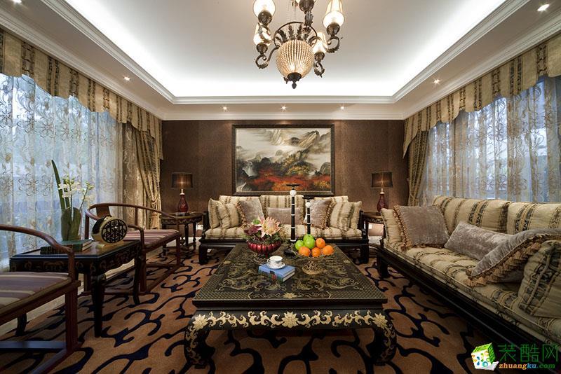 106平米简欧混搭风格三室两厅装修效果图--飞虹装饰