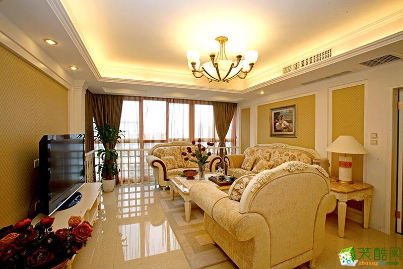 简欧风格108平米三室两厅装修效果图--飞虹装饰
