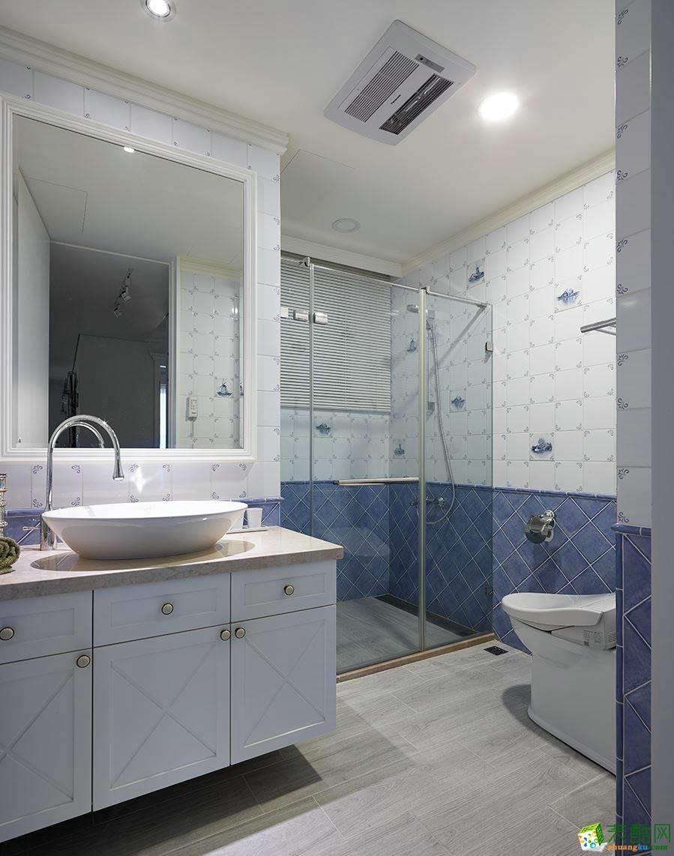 卫浴 美式装修效果图120平米三室两厅装修效果图赏析---齐家典尚装饰