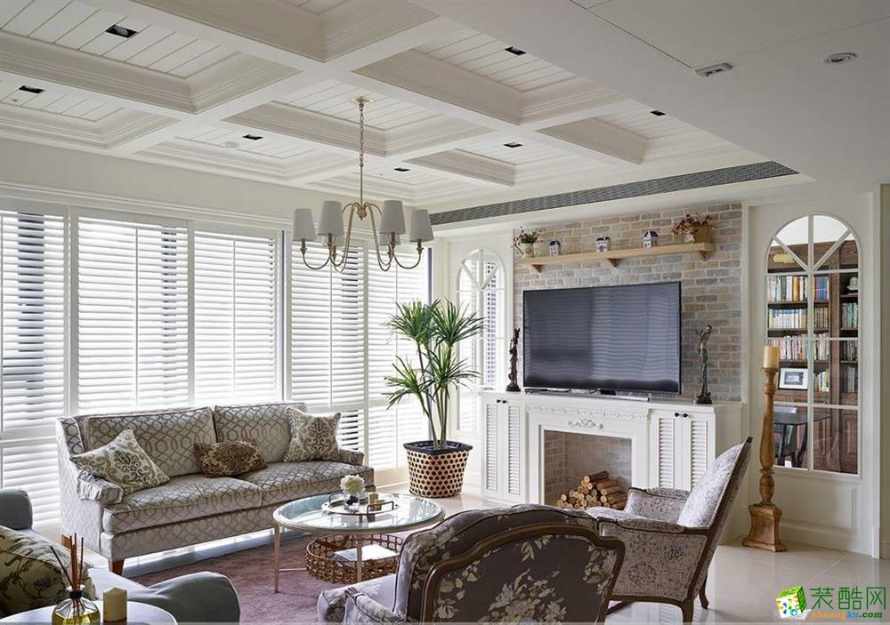 美式装修效果图120平米三室两厅装修效果图---齐家典尚装饰