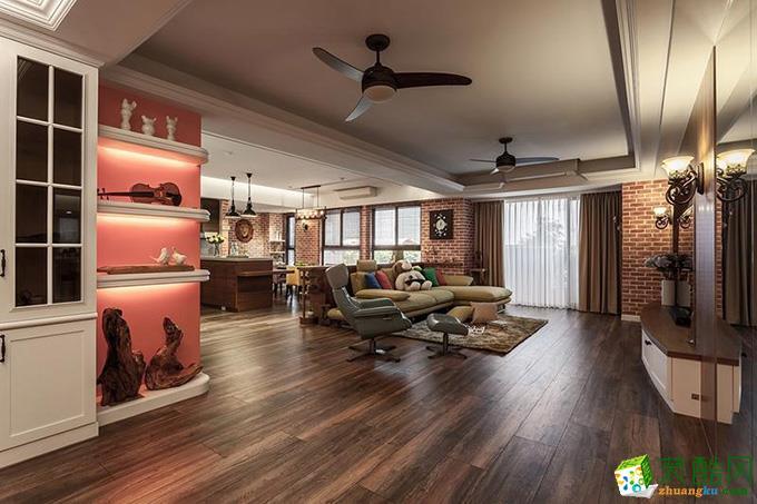 复古混搭风格125平米三室两厅装修效果图---家和装饰