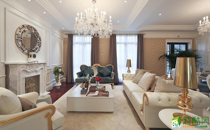 欧式田园复古150平米三室两厅装修效果图--实创装饰