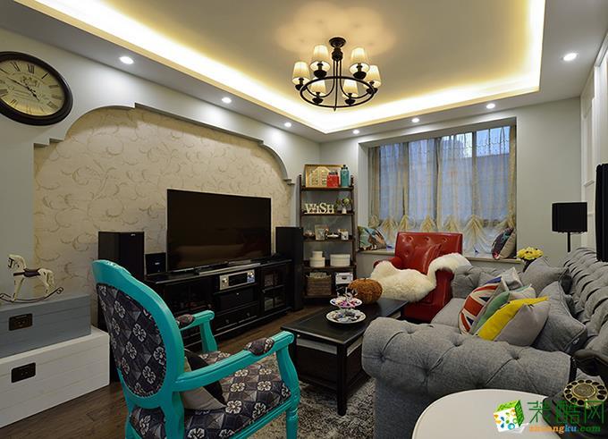 现代美式风格104平米两居室装修效果图--实创装饰