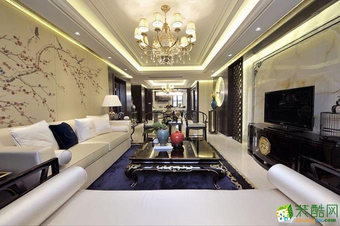 新古典风格123平米三室两厅装修效果图---德雕装饰