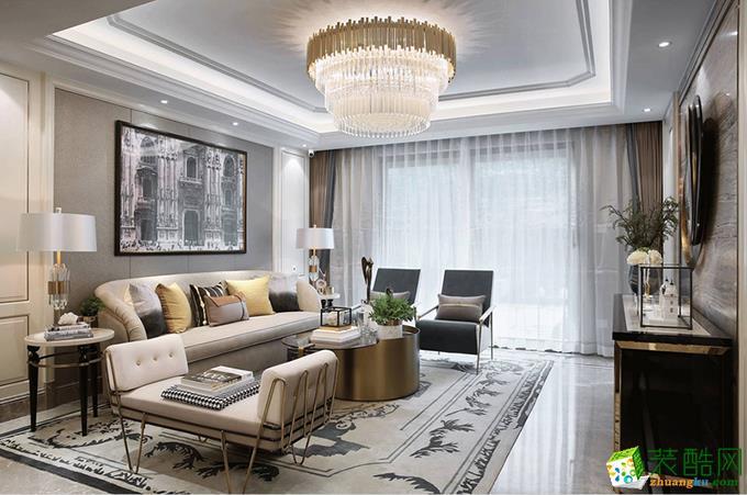 法式风格120平米三室两厅装修效果图--岚庭装饰