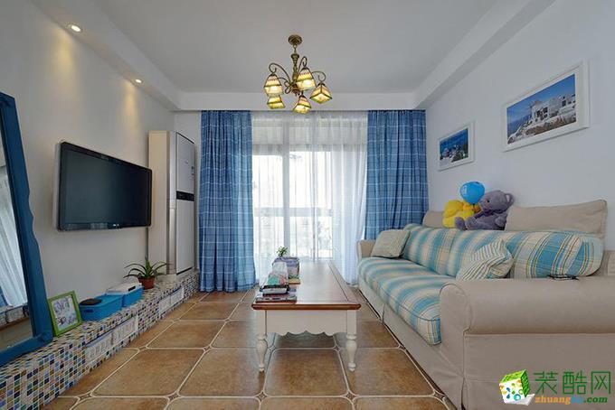 地中海风格110平米三室两厅装修效果图--铂特装饰