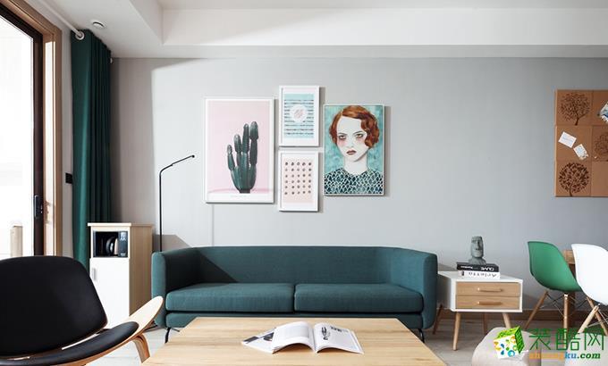 北欧风格100平米三室两厅装修效果图--铂特装饰